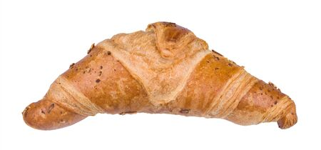 Close-up of tasty crispy butter croissant isolated on white background. One baked roll from layered yeast leavened dough sprinkled with grated cheese. Fresh bakery product of French cuisine. Top view. Stock Photo