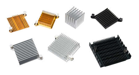 Set of various anodized aluminum coolers isolated on a white background. Alu heat sinks for cooling of electronic components as chipsets on computer motherboard or video cards. Overheating protection. Stock Photo