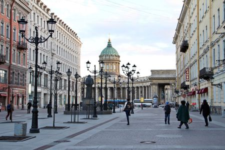 harmonize: Saint Petersburg RUSSIA -April 8:Historic place in between new buildings, Europe Editorial
