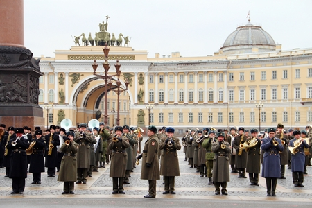 a rehearsal: Saint Petersburg, Russia - April 2014: Russian orchestra military parade rehearsal