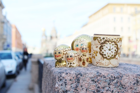 Russian dolls, popular souvenirs from Russia taken in front of Church of the Savior on Blood