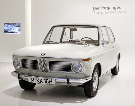 coupe: Munich, Germany - April 12, 2012: Display of BMW 1600 class coupe, year 1966 at BMW Welt in Munich, Germany