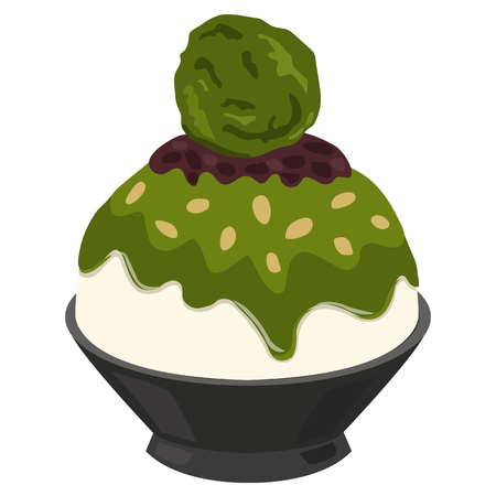 Dessert Korean or Bingsu Red Bean Green Tea 矢量图像