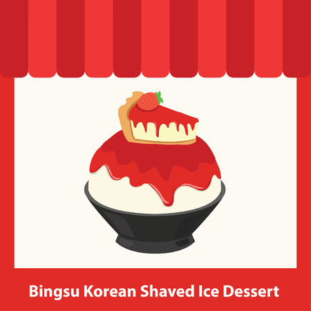 red color bingsu shop cartoon illustration vector