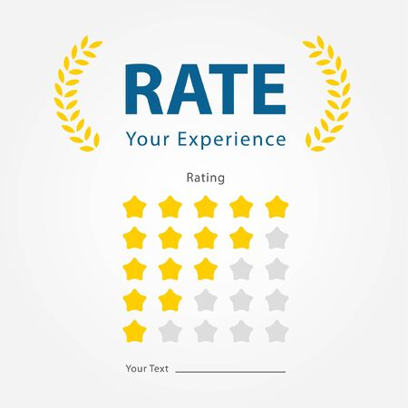 rate your experience for reviews product,restaurant,company,hotel,website and mobile applications.1-5 stars rating illustration vector