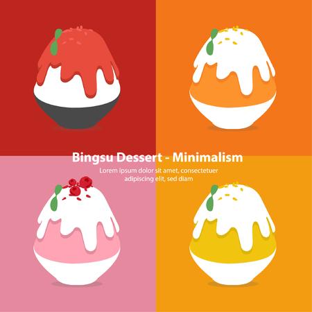 set of colorful bingsu illustration vector