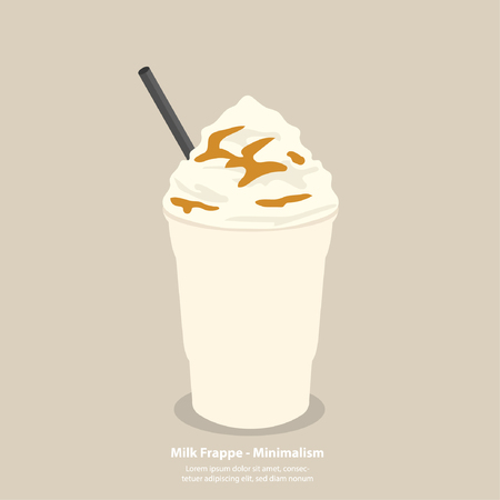 milk frappe with whipping cream and caramel sauce - minimalism