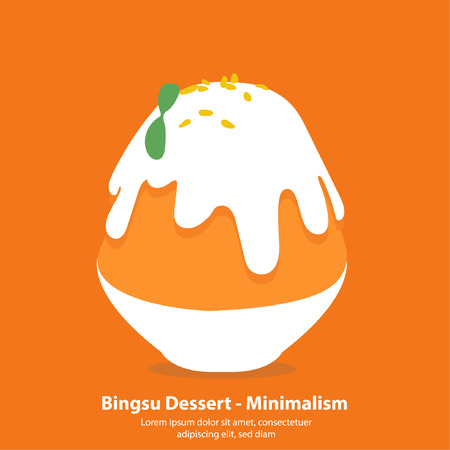 Thai Tea bingsu or kakigori korean dessert - Minimalism illustration vector