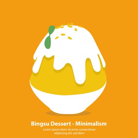 Mango bingsu or kakigori korean dessert - Minimalism illustration vector