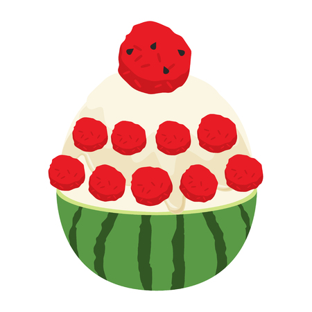 water melon bingsu illustration vector 矢量图像