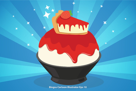 strawberry cheese cake bingsu cartoon illustrator