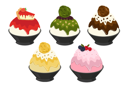 Vector illustration of Bingsu,most popular dessert korean and thailand Illustration