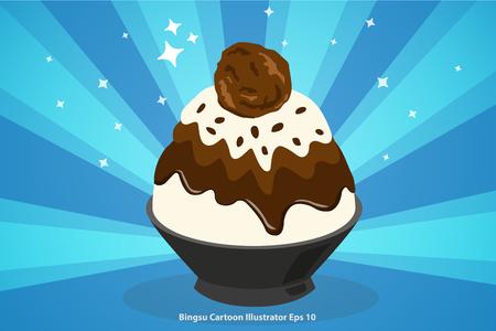 chocolate bingsu with ice cream cartoon illustrator 矢量图像