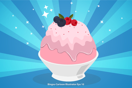 Pink milk kakigori or Japanese shaved ice dessert flavored cartoon illustrator Illustration