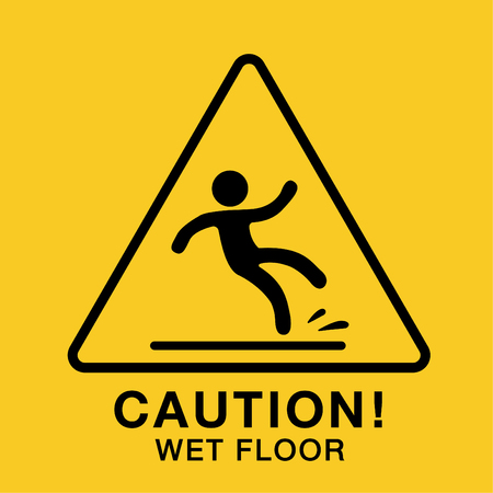 wet floor icon,yellow caution sign Çizim