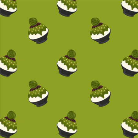 Matcha Green Tea Bingsu Cartoon Pattern on Green Background, Vector Illustration 矢量图像