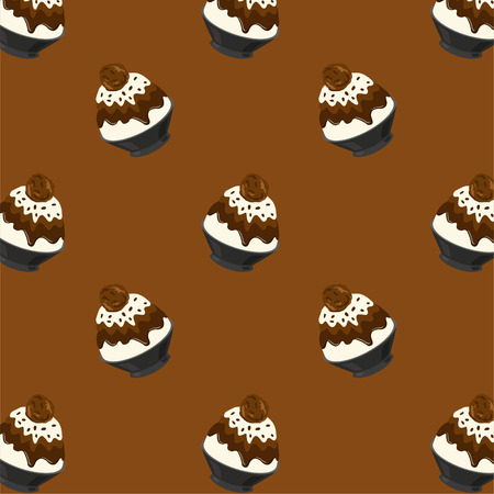 Chocolate Bingsu Cartoon Pattern On Brown Background, Vector Illustration 向量圖像