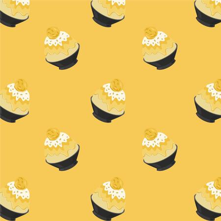 Mango Bingsu Cartoon Pattern on Yellow Background, Vector Illustration