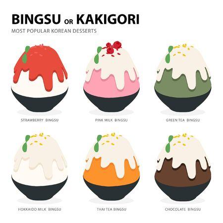 Bingsu oder Kakigori die beliebtesten koreanischen Desserts Vektorgrafik