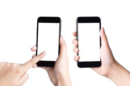 twee handen houden en spelen slimme telefoons op witte achtergrond
