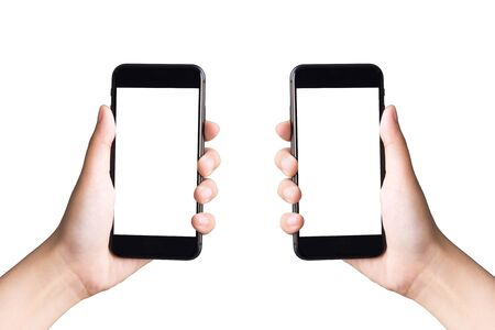 two hands holding smart phones on white background