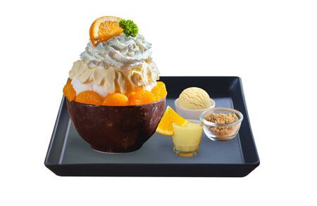 orange bingsu set isolated on white background