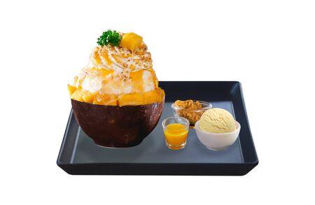 mango bingsu set isolated on white background Stock Photo