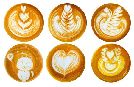 List of latte art shapes isolated on white background