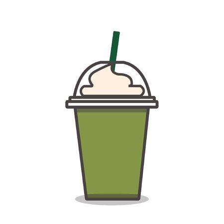 Matcha green tea frappe with whipped cream vector