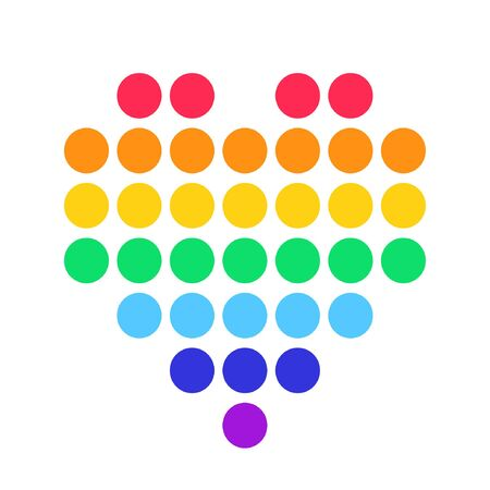 heart dot rainbow colors icon vector Illustration