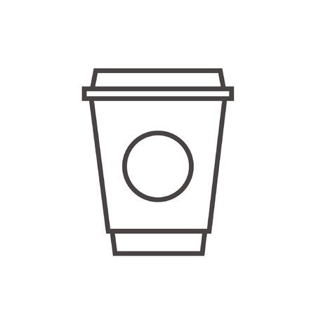 hot coffee stroke outline icon vector