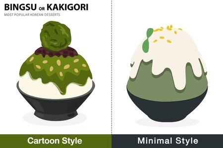 Double pack - 2 style green tea bingsu illustration vector
