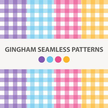 Collection Of 4 Colorful Gingham Seamless Patterns Vector Ilustração