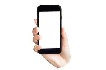 Mano sujetando el teléfono con pantalla en blanco aislado sobre fondo blanco. Foto de archivo