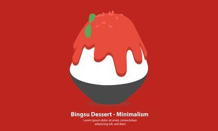 strawberry bingsu or kakigori korean dessert - Minimalism illustration vector 矢量图像