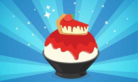 strawberry cheesecake bingsu cartoon illustrator
