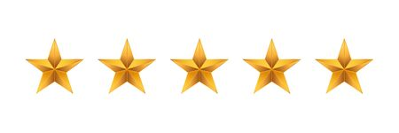 3d gold gradient five star  illustration vector