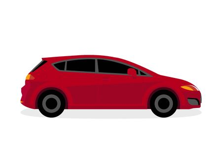 Red car isolated on white background  illustration vector