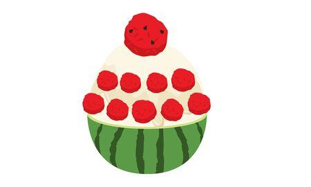 watermelon bingsu illustration vector