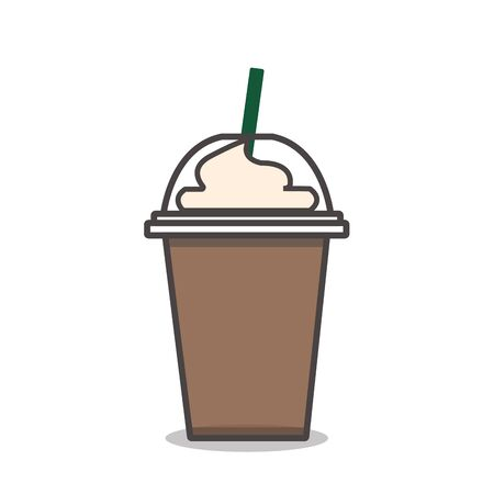Coffee frappe with whipped cream vector Ilustracja
