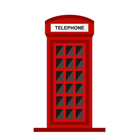 red telephone booth isolated on white background illustration Stock Illustratie