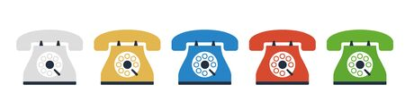 set of colorful vintage phone icon vector Vektoros illusztráció