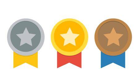 reward winner isolated on white background,gold,silver,bronze