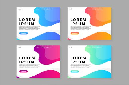trendy colorful website template design illustration vector