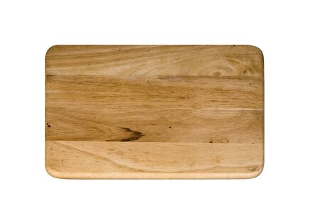 Wood Butcher Plate Isolated On White Background