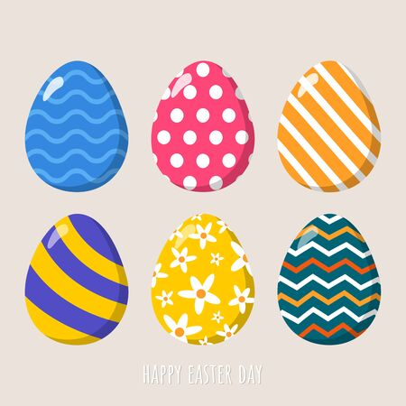 Collection of colorful easter eggs illustration vector.Happy easter day