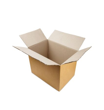 Opened carton box isolated on white Stock fotó