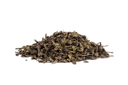 Pile of dry green tea isolated on white background