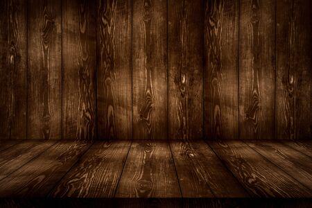 dark brown wood wall and floor in perspacetive view wooden room