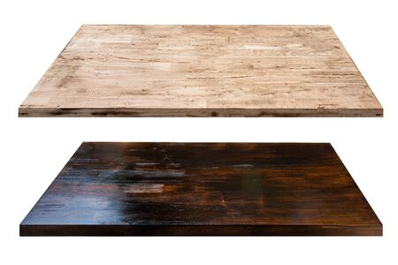 light brown wood and dark brown wood top table desk isolated on white background.